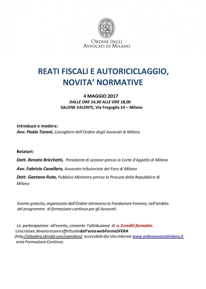 Fabrizio Cavallaro speaker at Reati fiscali e autoriciclaggio, novità normative
