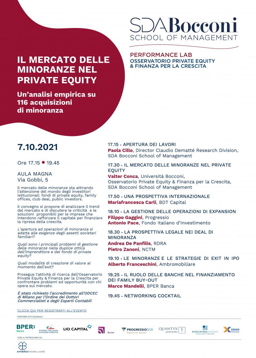 """Andrea De Panfilis relatore al convegno """"Il mercato delle minoranze nel private equity"""" organizzato da SDA Bocconi"""