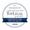 Lo Studio riconosciuto da Top Legal Ranked In 2020 nelle categorie corporate M&A e private equity