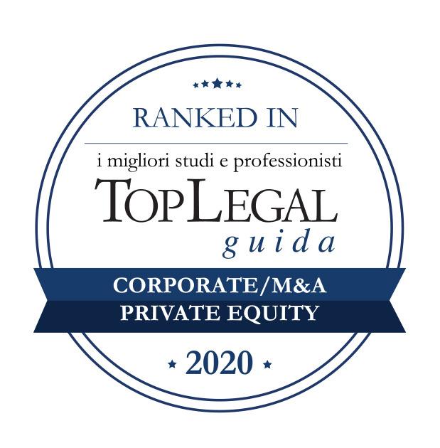 Lo Studio riconosciuto da Top Legal Ranked In 2020 nelle categorie corporate M&A e private equity