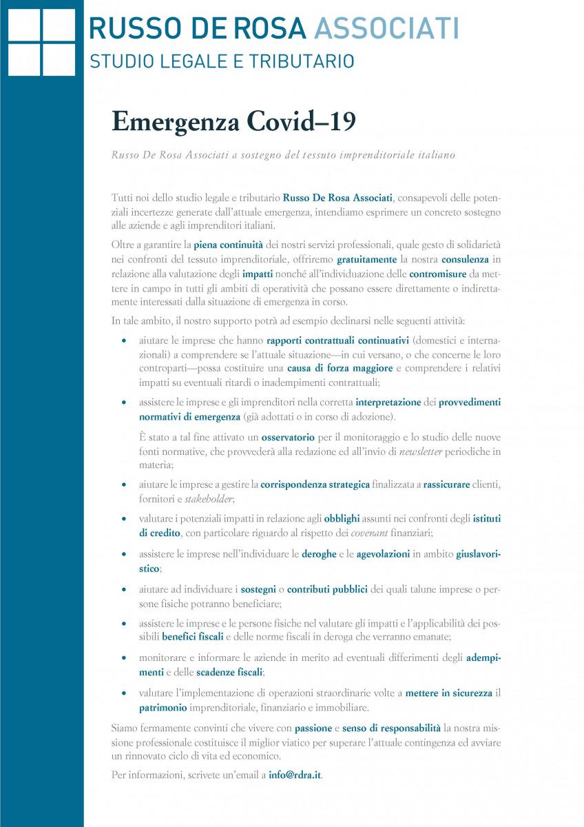 Emergenza Covid–19: Russo De Rosa Associati a sostegno del tessuto imprenditoriale italiano