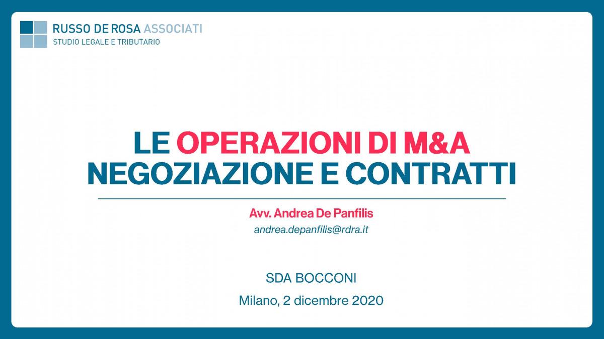 """Andrea De Panfilis relatore al Master """"Corporate Finance"""" organizzato da SDA Bocconi, in materia di negoziazione e contratti nelle operazioni di M&A e private equity"""