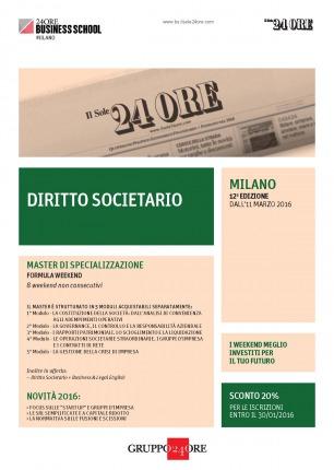 Gianmarco Di Stasio e Marzio Molinari relatori presso: Master di specializzazione in Diritto Societario - XII edizione