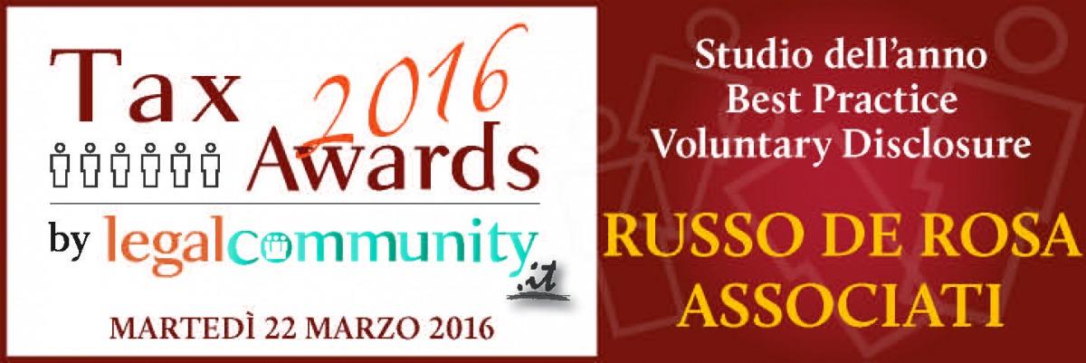 """Russo De Rosa Associati: premio come """"Studio dell'anno Best Practice Voluntary Disclosure"""""""